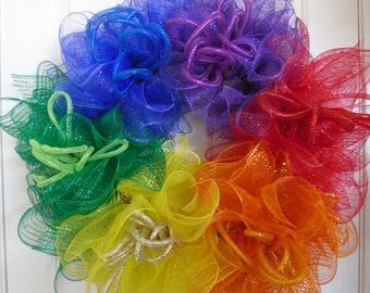 Rainbow Wreath, Deco mesh Wreath, Colorful Wreath, Front Door Wreath, Celebrate Love Wreath, Gay Wreath, LGBT Wreath, Wedding Wreath