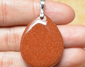 Red Goldstone 925 Sterling Silver pendant  (#J812)