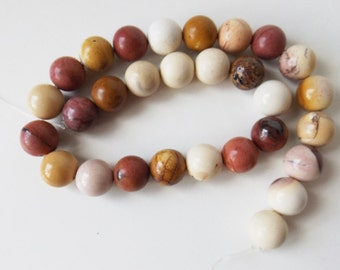 "Natural Mookaite 12 mm round beads  14.5"" strand ( #J1302)"