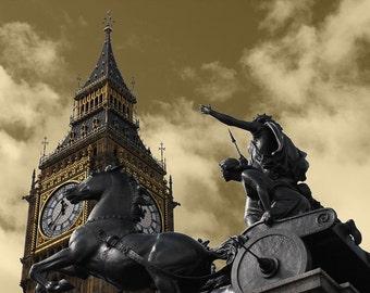 London, Statue of Boudica, Big Ben photographic print