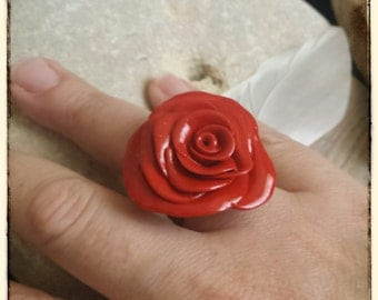 Polymer clay red rose ring