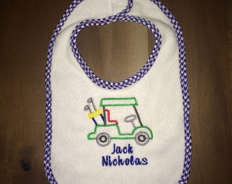 Country Club Golf baby bibs - embroidered & personalized