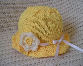 Baby Hat / Baby Sun Hat / Newborn Hat / Baby Girl Hat / Newborn Sun Hat / Baby Summer Hat / Yellow Baby Hat / Girl Sun Hat