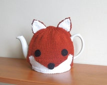 Handmade knitted fox tea cosy, to fit a standard 2 pint, 40fl oz, teapot.  Knitted animal tea cosy , great for a gift. woodland animal cozy
