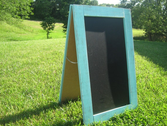 Rustic coastal ocean blue easel chalkboard extra large sidewalk chalkboard sandwich chalkboard double sided wedding restaurant sign