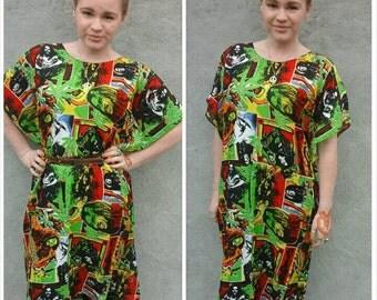 Bob Marley style kaftan tunic dress top. Rasta reggae. One size.