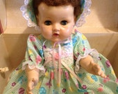 Tiny Tears 1950s Original Doll with Three Piece Outfit and Vintage Design Doll Trunk for Storage and Accessories