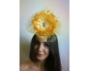 """Millinery Fascinator Headpiece / Plumage Collection: """"I'm No Wallflower""""  / Duck Feather Fascinator"""