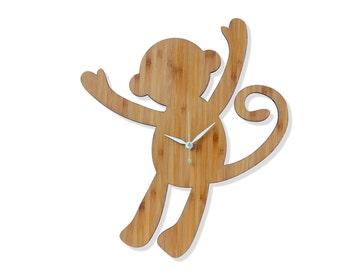 Bamboo Monkey Wall Clock. Safari or Zoo Themed Nursery.