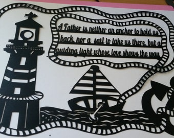 Father quote paper cutting template