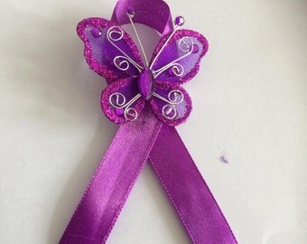Fibromyalgia ribbon brooch