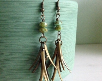 Bronze metal fringe earrings, picasso glass, boho, bohemian, gypsy