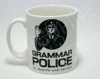 Grammar Police Mug English Spelling Geek Nerd Funny Rude Novelty Coffee Tea Cup Mug Gift