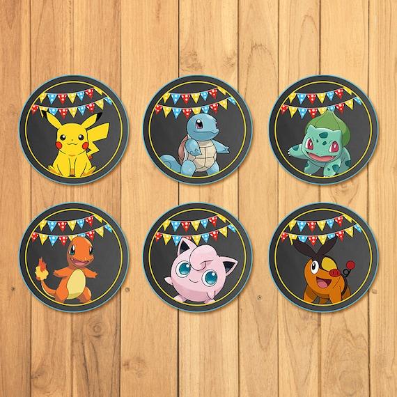 Pokemon Cupcake Toppers Chalkboard * Pokemon Stickers * Pokemon Birthday * Pokemon Printables * Pikachu Party * Pokemon Party Favors