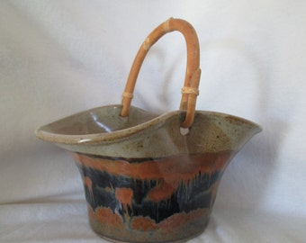 Pottery basket/ pottery basket with bamboo handle/ mid century pottery