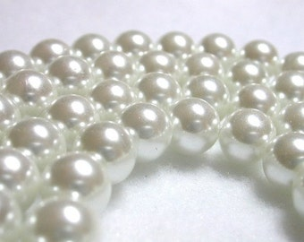 Stark White Pearls 8mm Glass Pearls White Round Celestial Glass Pearls Shimmery Pearl Rounds Snow White 8mm Pearl Rounds 50 Pearl Rounds