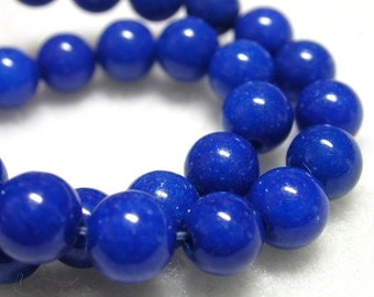 6mm Lapis Blue Mountain Jade Deep Blue Stone Beads 16 inch Strand 68-70 Beads Blue Round Stone Beads 6mm Jade Rounds Blue Lapis Jewelry