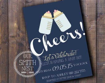 Cheers! Baby Shower Invitation DIY PRINTABLE Customizable Digital Print