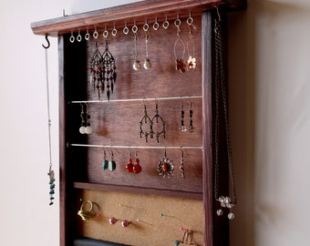 jewelry organizer. READY to SHIP earring holder. wooden display. mahogany jewelry storage. earrings hanger. wall mounted ring holder.