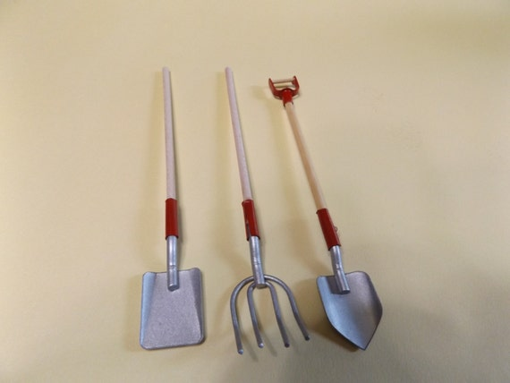 Dollhouse miniature mini fairy garden set of 3 gardening tools for Miniature garden tools