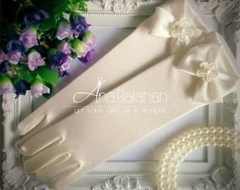 SALE! Ivory gloves, Flower girl gloves, Girl gloves, Kids gloves, Girls white gloves, Satin gloves, LONG gloves