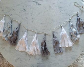 9 Inch Fabric Tassel Garland / Handmade / Customise / Minimalistic / Monochrome / White Grey Silver / Weddings Birthdays Baby-Showers Etc /