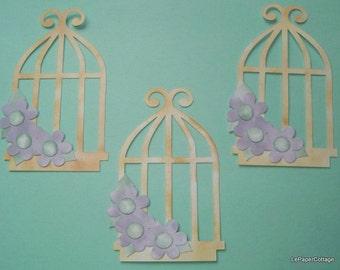 Vintage inked birdcage die cut