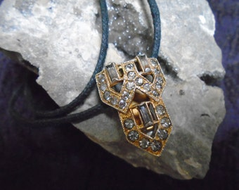 Vintage Art Deco Style Slide Pendant Necklace Choker with Rhinestines and Baguette Stones on Cord