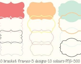 Bracket frame Tag  Label Kit PNG Digital file Printable Instant download Colourful Scrapbooking Invitation Web Card Commercial use