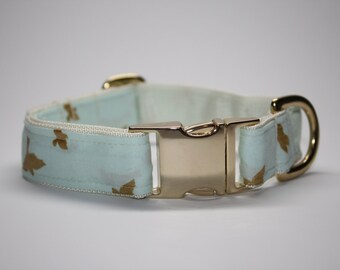"""Gold Swallow on Mint Dog Collar """"Ellie"""""""