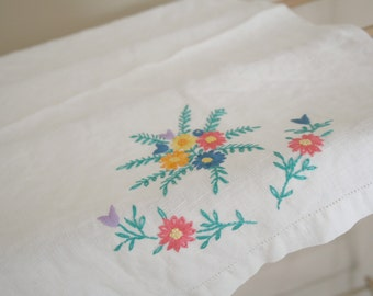 Flower bouquet embroidered linen Tea Towel or table topper