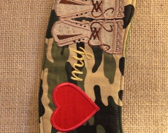 I love my soldier embroidered coffee sleeve