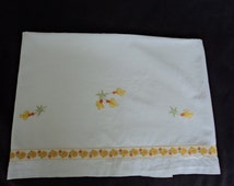 French Vintage linen babies embroidered sheet (01029)