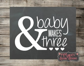 And Baby Makes Three - Printable Chalkboard Photo Prop / Pregnancy Announcement / Baby Reveal Sign INSTANT DOWNLOAD