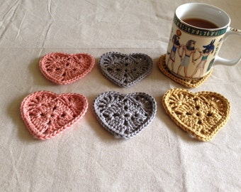 Crochet Heart shaped coasters.    Six Handmade Heart Shaped Coasters