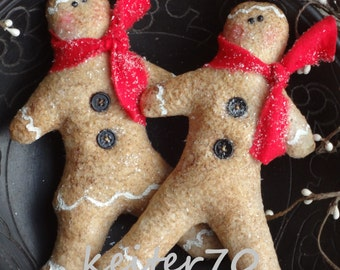 Primitive Christmas Gingerbread Boy and Girl Ornies Bowl Fillers