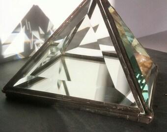 Glass pyramid, crystal charging pyramid, recycled mirror, ring bearer box, beveled jewellery display box, wedding decor prism, proposal ring