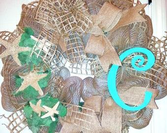 Made to Order, Monogram Beach Wreath, Starfish Wreath, Burlap Wreath, personalized wreath, Burlap Initial wreath