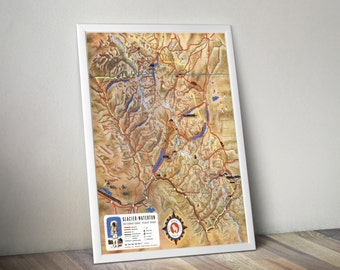 Glacier National Park Map | Waterton National Park | Glacier Waterton International Peace Park Map | Mid Century Map | Mid-Century Decor