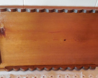 """Rustic Wood Tray 19 1/2"""", Farmhouse, Handcrafted, Wood Serving Tray, Vintage Wood Tray, Scalloped Edges"""
