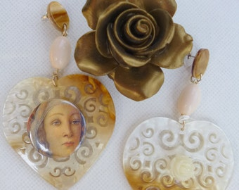 Madonna earrings Art earrings Cameo earrings