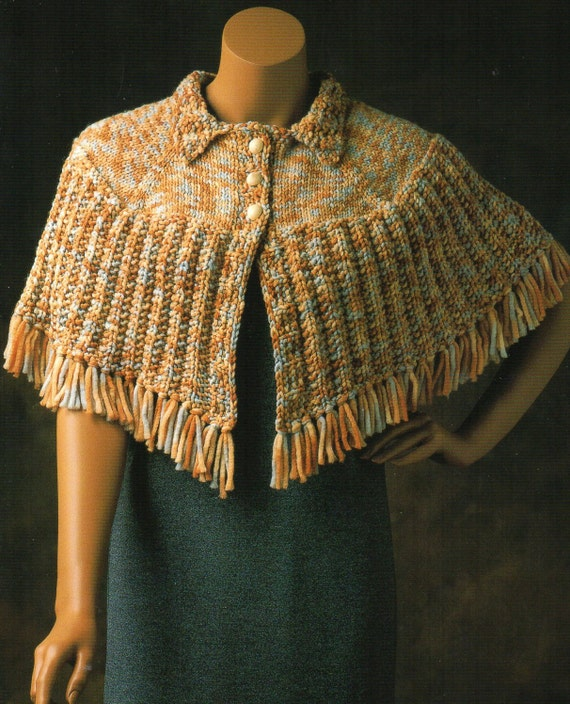 Cape Poncho Capelet Knitting Pattern Fringed Buttons Womens