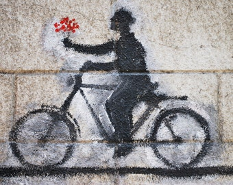 Cycling Photo print - Love on a bike - Graffiti art - Home decor - gift for cyclist
