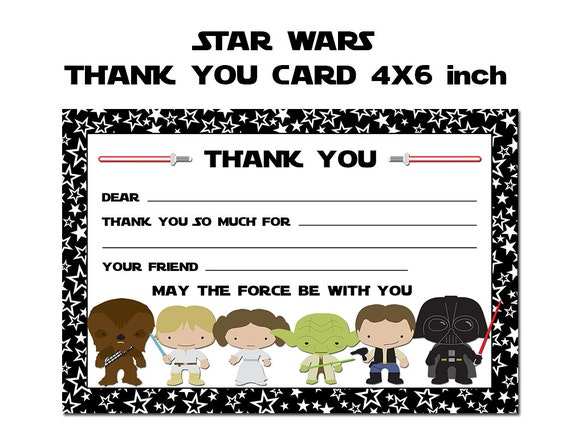 ... Thank You Note, Star Wars Party Printable, Fill In the Blank Thank You
