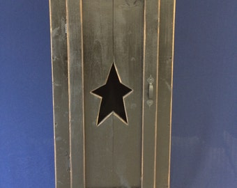 Primitive Wood Storage Cabinet with Star cut out