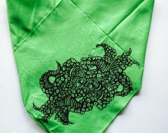 Trippy Octopus Hand Printed Woodblock Festival Bandana