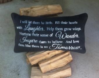 Hand stenciled burlap pillow inspirational saying
