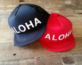 ALOHA Snapback Hat | Custom Trucker Hat | Aloha Trucker Hat | Toddler Snapback | Kid Hat | Kid Trucker Hat | Adult Aloha Hat | Custom Hat