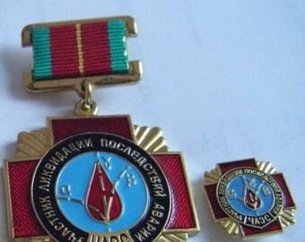 2 russian chernobyl liquidator medals/badge. chernobil. pripyat.USSR