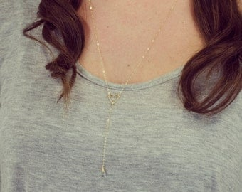 Lariat Long Necklace , Y Necklace, Layered Necklace , Minimalist Jewelry, Delicate Jewelry, Dainty, Simple Necklace